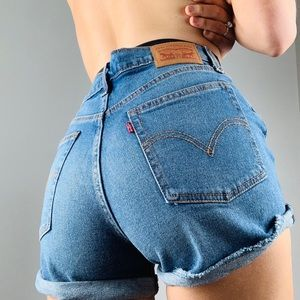 Levi's Cuffed High Waisted Button Fly Denim Shorts